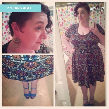 Dress was from Gwynnie Bee, shoes from Rack Room, and earrings from Burlington Coat Factory.