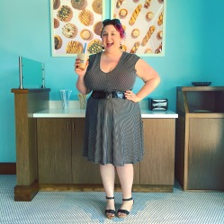 Dress was from Gwynnie Bee, sandals are Miz Mooz, belt is from Ross, earrings from Target, sunglasses from LouLou