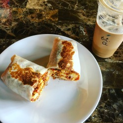 burrito w/ bacon + bourbon caramel latte