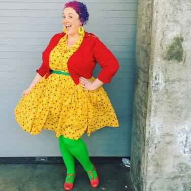 Cardigan: City Chic, Dress: ModCloth, Belt: Amazon, Tights: We Love Colors, Shoes: Chelsea Crew, Earrings: Burlington