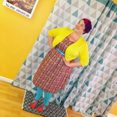 Cardigan: Ross, Dress: ModCloth, Belt: Amazon, Tights: We Love Colors, Shoes: ModCloth