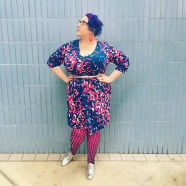 Dress: Leota, Belt: Amazon, Tights, solid pink: We Love Colors, Fishnet tights: Sock Dreams, Shoes: Amazon, Glasses: Zenni, Earrings: It's Fashion Metro