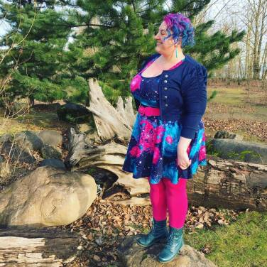 Cardigan: Ross, Dress: ModCloth, Leggings: It's Fashion Metro, Boots: Cobb Hill, Belt: Torrid
